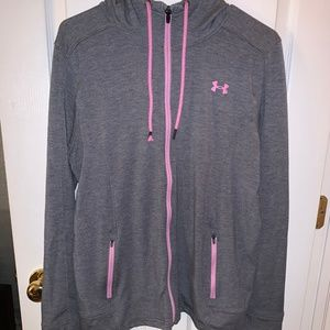 Women's Grey and Pink Athletic Zip-Up Hoodie
